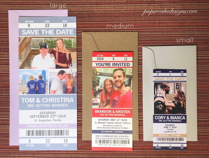 Sport Ticket Wedding Save The Date Invitation Tickets Etsy