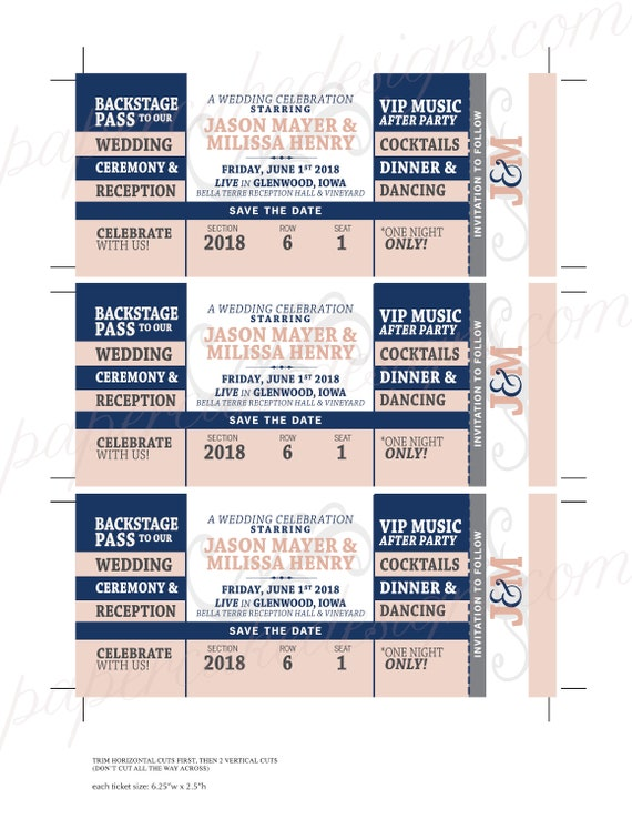 save the date concert ticket diy printable pdf wedding bat etsy
