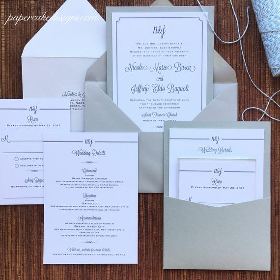 Wedding Invite Enclosures: Pocket Wedding Invitations / Enclosure Cards In Back Panel