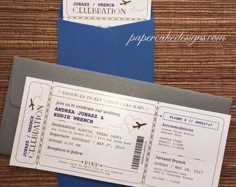 Boarding Pass Airline Ticket Invitation / DIY Printable PDF Template / Wedding Birthday Shower Party