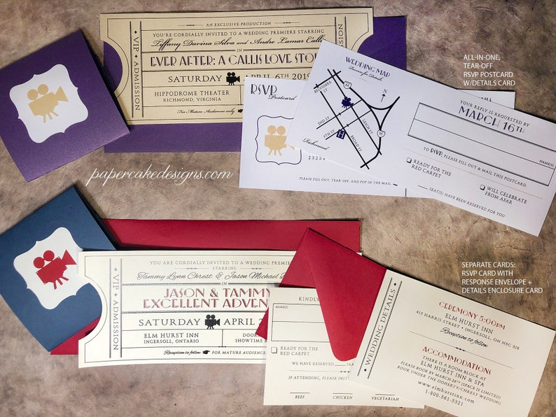 Vintage Ticket Wedding Invitation Suite Cinema Film Theater Etsy