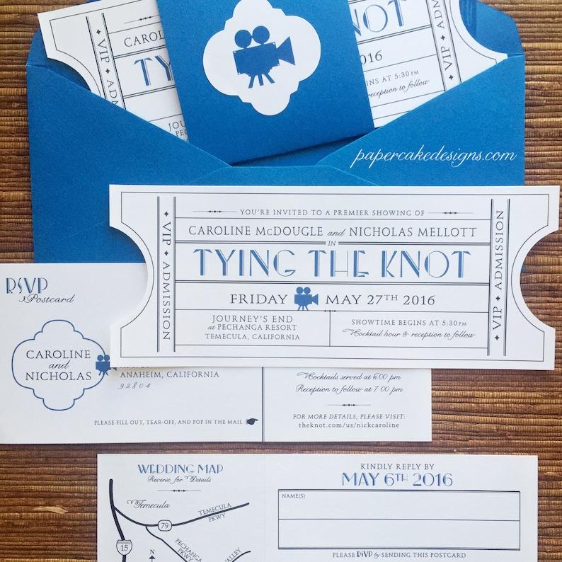 Vintage Event Ticket Wedding Invitation Suite / Movie Theater INV w/TearOffRsvp