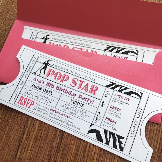 pop rock star invitation ticket diy printable pdf or print etsy