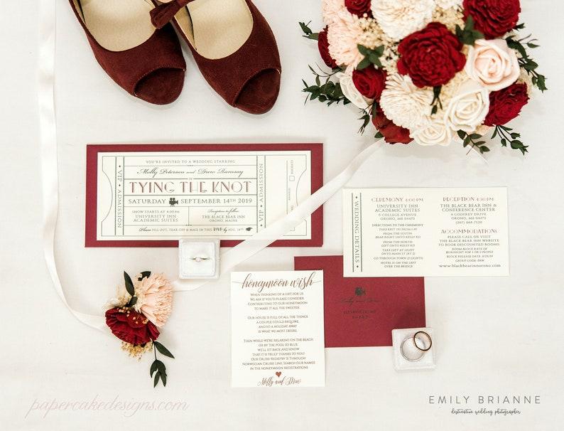 Vintage Movie Theme Ticket Wedding Invitation with RSVP image 0