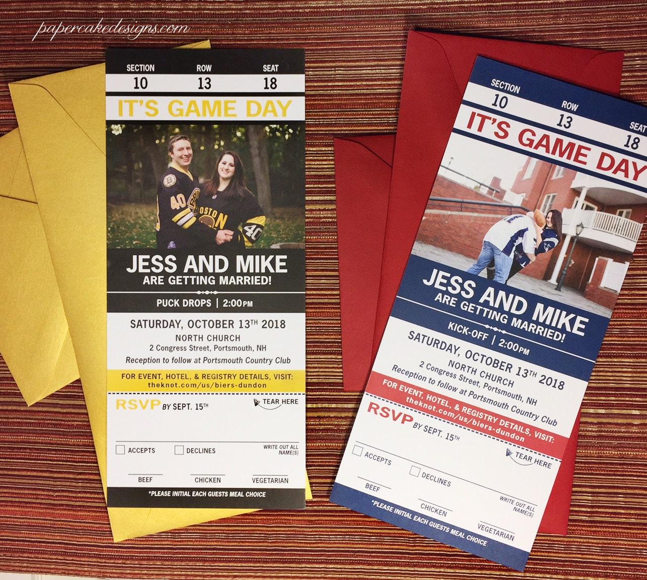 Sport Ticket Invitation with tear-off RSVP Stub / Wedding | Etsy