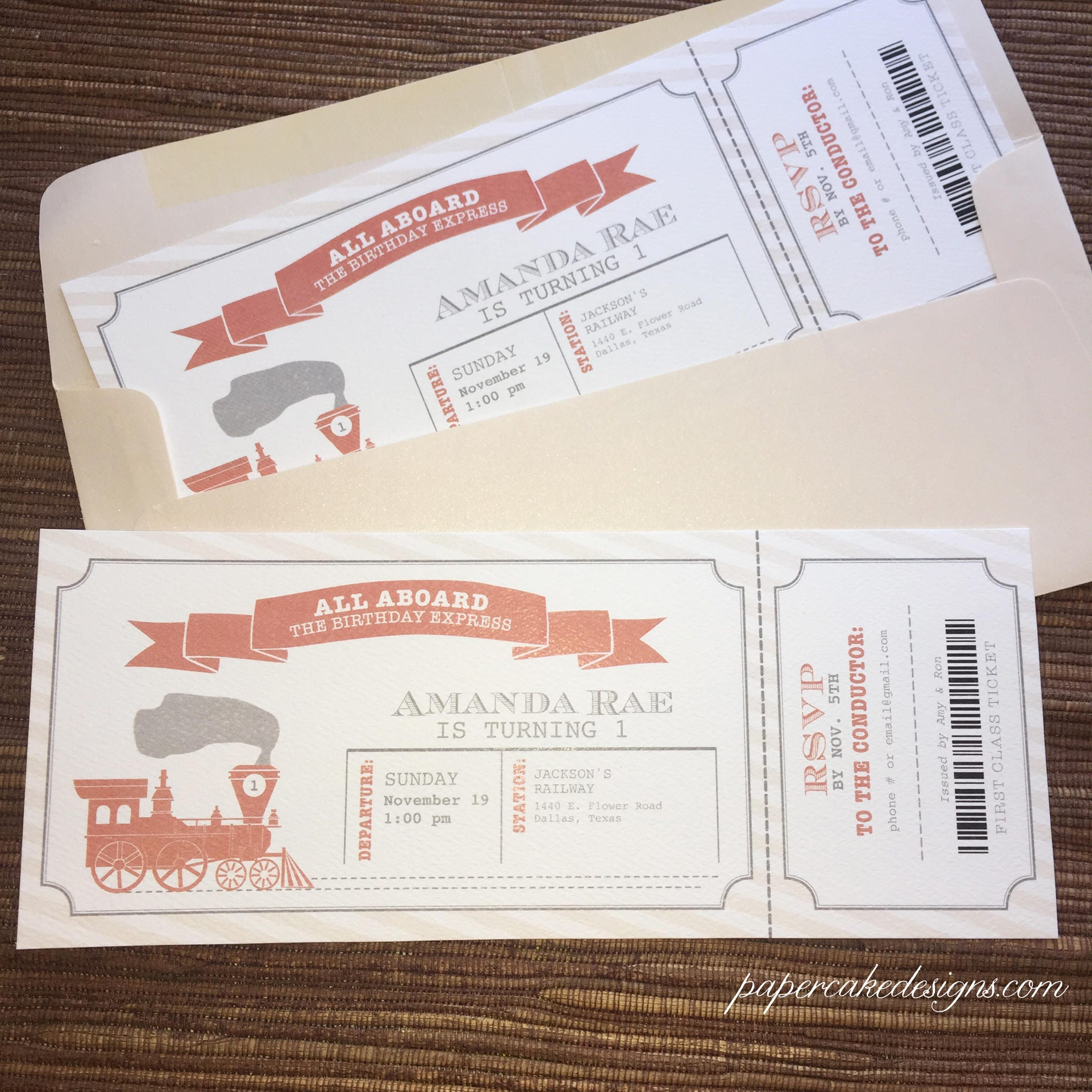 Train Ticket Birthday Invitation / DIY Printable PDF Template | Etsy