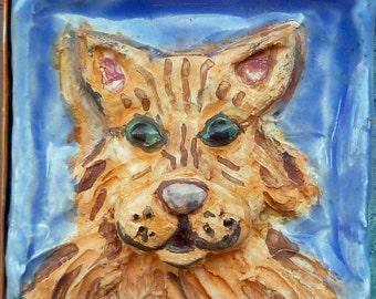 Mosaic OrangeTabby Cat Welcome Sign