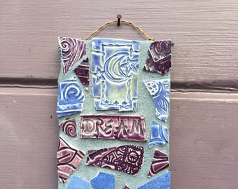 Goodnight Moon Dream Garden Flower Herb Stake Mosaic Affirmation Sign Blue and Purple