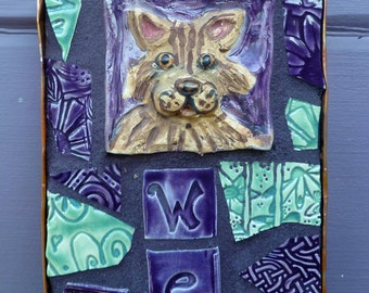 Mosaic Tabby Cat Welcome Sign Purple and Green