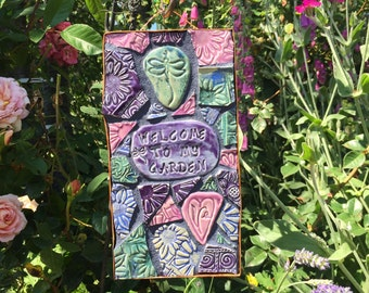 Welcome to My Garden Heart Dragonfly Mosaic Sign