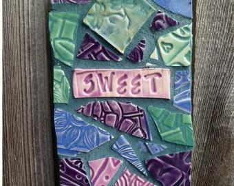 SWEET Garden Flower Herb Stake Dancing Dragonflt Mosaic Affirmation  Sign Valentines Day