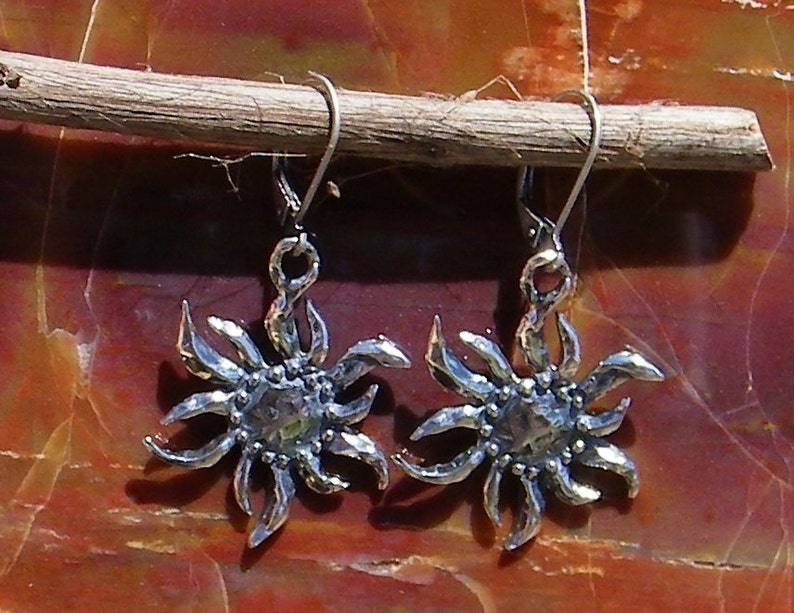 23f804353 Artisan Stylized Sun Handcrafted Sterling Silver Earrings | Etsy