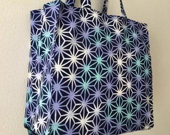 Japanese Asanoha Market Tote Bag in Blue & White, Japanese TIGHT 'N' TIDY Tote Bag, Reusable Folding Shopping Bag, Compact tote bag, Eco bag