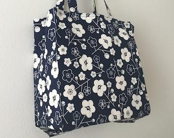 Japanese Art Deco plum blossoms Tight 'n' Tidy Tote Bag, Foldable shopping bag, eco bag, navy blue & white market bag, mod flowers book bag