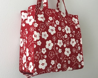 Japanese Art Deco plum blossoms Tight 'n' Tidy Tote Bag, Foldable shopping bag, eco bag, red and white market bag, mod flowers book bag
