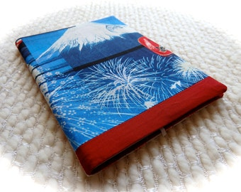 Mt. Fuji Notebook, Japanese Fireworks Fabric Notebook Cover, Japan Patchwork Fabric Covered B6 Retro Notebook, Red, White, and Blue Summer