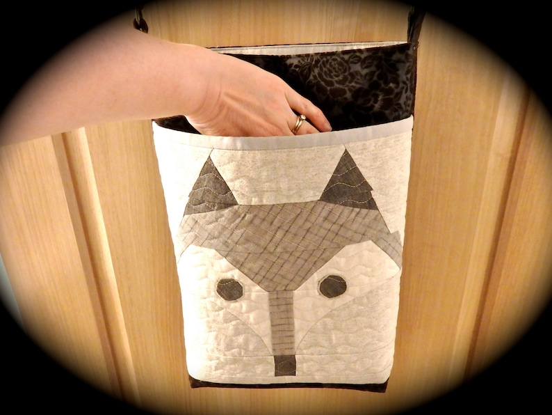 Wild Animal Fox Face and Roses Faux Suede Tote Bag Suede Quilted Fox Tote Bag Pleather Brown Beige Tan Cream Vinyl Cotton Animal
