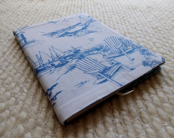 Sailboat Notebook, Beach Adirondack Chairs Fabric Notebook Cover, Nautical Blue and White B6-size Retro Fabric Covered Notebook, Sketchbook