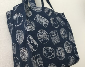 Japanese travel stickers TIGHT 'N' TIDY Tote Bag, folding shopping bag, navy silver, Tokyo, Hiroshima, Kyoto, Hokkaido, Iwate, eco bag