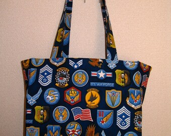 Air Force Tote Bag, USAF United States Air Force Military Insignia Patches TIGHT 'N' TIDY Tote Bag, Reusable Folding Shopping Bag