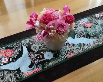 Japanese crane table runner, Silver Cranes Table Runner, Wild birds, pine cone, bamboo, waves, chrysanthemum, pine tree, brown, green, red
