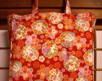Japanese Tote Bag with Red Kimono Design, TIGHT 'N' TIDY Tote Bag, Reusable Folding Shopping Bag, Traditional Kimono Pattern, Pink Green