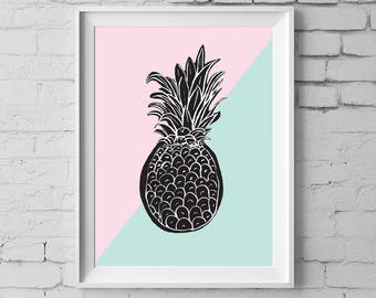 Pineapple Art Print,  8x10 inches Modern Pineapple Wall Art, Pineapple Nursery art, Black & White Pineapple Digital Instant Download #196