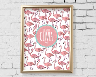 Flamingo Nursery Art Print, flamingo Nursery wall art, Digital Personalized Wall Art, Kids Room, Custom Kids Monogram Digital File - 180