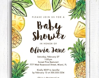 Pineapple Baby Shower Invitation, Pineapple Invitation, Aloha invitation, Personalized Tropical invitation, Digital File,  Item 194A
