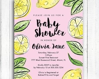 Lemon Baby Shower Invitation, Lemon Invitation, Pink Lemonade invitation, Color Options, Personalized Digital Printable File,  Item 190