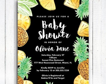 Pineapple Baby Shower Invitation, Modern Pineapple Invitation, Aloha invitation, Personalized Tropical invitation, Digital File,  Item 194B