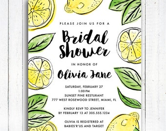 Lemon Bridal Shower Invitation, Lemon Invitation, Modern Lemon Bridal Shower invitation, Personalized Digital Printable File,  Item 190B