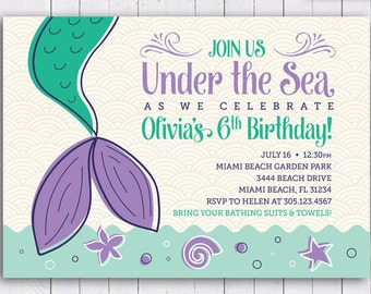 COLOR OPTIONS Mermaid Birthday Party Invitation, Under the sea Invitation, Personalized, Digital DIY Printable File, Item 182