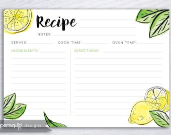 Lemon Recipe Card, Lemon fruit Recipe Card, Tropical recipe card, Digital Recipe Card, 5x7 inches, Printable File Instant download - #191