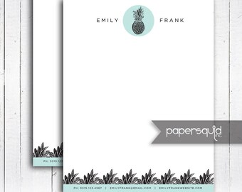 Customized Pineapple Letterhead, Tropical Pineapple Modern Letterhead, Digital Printable PDF File, letter size or A4 - #198B