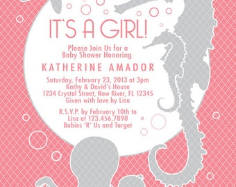 COLOR OPTIONS - Coral Pink Color Girl Sea Theme Baby Shower Invitation - Digital File Printable - Item 111B