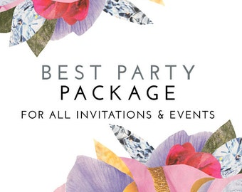 Matching Best PARTY PACKAGE for Any Invitation Design in the Shop - Print Your Own Digital PDF'S