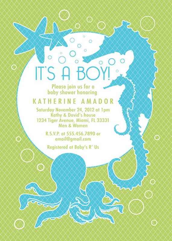 Sea And Ocean Theme Baby Shower Invitation Custom Boy Etsy
