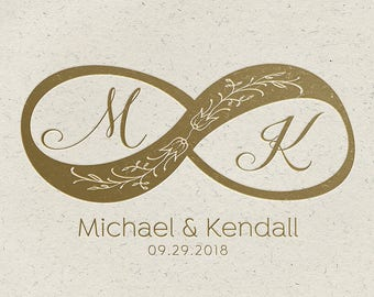 Wedding Logo Design | Infinity Symbol | Floral Wedding Logo | Calligraphy Script | Elegant Logo | Union Logo | Pre-made Wedding Stamp