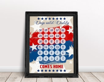 Printable Deployment Countdown Calendar | 30 Days Until Daddy, Mommy, Our Soldier Comes Home | Military Homecoming Planner | PDF 8.5x11