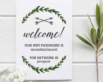 WIFI Password Sign | Guest Room Sign | WiFi Printable | Guest Wifi Welcome Sign | Internet Sign | Laurel Wreath | Enjoy Your Stay