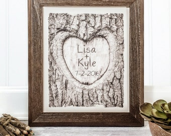 Initials and Heart in Tree | Personalized Wedding Wood Sign | Names Carved in Tree | 5th Anniversary Wood | Custom Wedding Artwork Initials