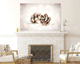 Dreamy Gold Pinecone Photo, Autumn Décor Print, Pine Cone Photograph, Neutral Warm Browns and Gold Colors, Rustic Decor, Pinecone Artwork