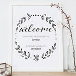 WIFI Password Sign | Guest Room Sign | WiFi Printable | Guest Wifi Welcome Sign | Internet Sign | Black and White Wreath | Neutral Decor