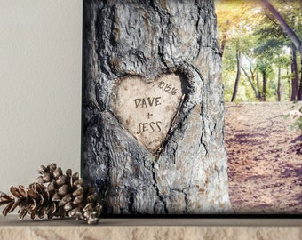 Carved Initials in Tree | 5 Year Anniversary | Personalized Tree Carving Carved Heart | Custom Names Wood Sign or Print | Wedding Sign Gift