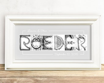 Vintage Wedding Engagement Gift, Grey and White, Your Last Name Framed, Personalized Name, Silver and Gold Photo Letters 8x15 or 10x20