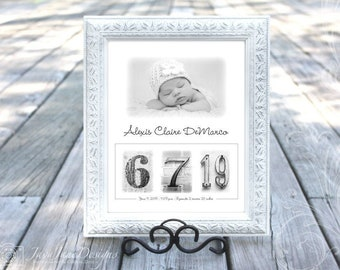 Baby Birth Announcement | 11x14 Custom Baby Birth Date Frame | Sepia or Black and White | Date Photos Personalized with Your 5x7 Photo