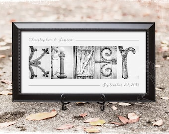 Personalized Name Frame | Traditional Black Wood Frame | Alphabet Letter Photos Custom Framed and Matted 10x20 | Custom Name