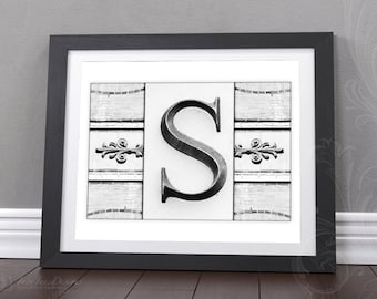 Letter Gallery Wall Print | 8x10 Initial Print | Wedding Gift | Black and White Photograph | Choose Your Letter | Gifts Under 5 | DIGITAL