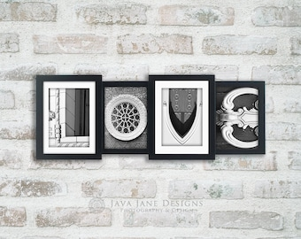 LOVE letters spelled out in alphabet photos, individual 4x6 black and white photos, architecture letter details